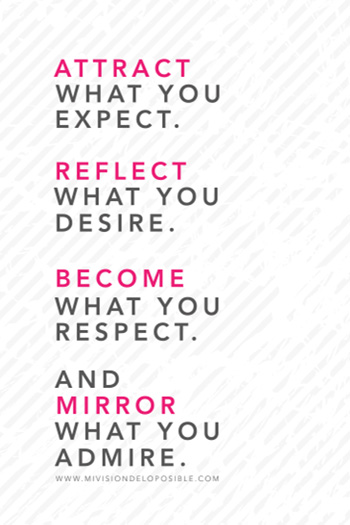 Attract what you expect, reflect what you desire, become what you respect, and mirror what you admire.