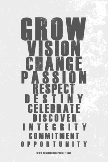 Grow, vision, change, passion, respect, destiny, celebrate, discover, integrity